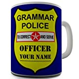 Grammar Police Sheild Personalised Coffee Mug