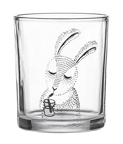 Waterglass, Rabbit, Black/Clear Ø7xH8cm
