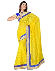 Sehgall Saree Indian Bollywood Designer Ethnic Professional Designer Material Super Net Yellow