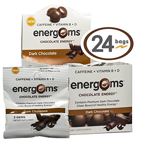 Energems Dark Chocolate Energy Boost with Caffeine, Vitamin B, Vitamin D, Antioxidants, with L-Theanine - Contains 72 Chocolate Dietary Supplement Gems (1 Box w/24 bags) (Energy Chocolate Chews compare prices)
