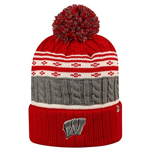 Wisconsin Badgers Official NCAA Cuffed Knit Altitude Beanie Stocking Stretch Sock Hat Cap by Top of the World 813325 (Wi Badger Hat compare prices)