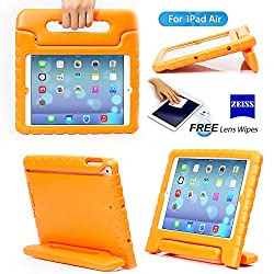 iPad 5, iPad Air Case- Kids Light Weight Kido Series Multi Function Convertible Handle Kickstand Kids Friendly Protective Shockproof Cover Case with Stand & Handle for Apple iPad Air (Orange)
