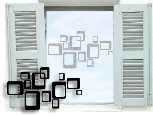 Fenstertattoo selbstklebend ~ Retro Vierecke Karos Quadrate ~ glas028-80x29 cm 600141 Aufkleber für Fenster, Glastür und Duschtür, Glasdekor Fensterbild, wasserfeste Glasdekorfolie in Sandstrahl - Milchglas Optik
