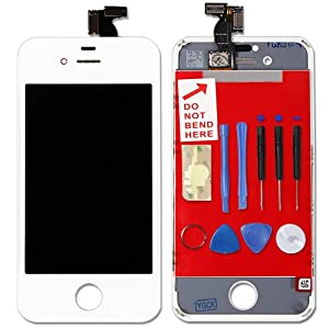 iPhone 4S Replacement White Front Complete LCD Glass Display Touch Screen Digitizer with TOOLS - mendmyi