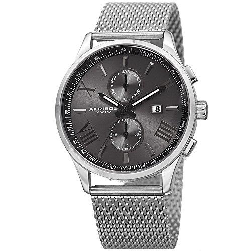 Akribos-XXIV-Mens-Swiss-Quartz-Multi-function-Black-Sunray-Dial-Silver-tone-Mesh-Stainless-Steel-Bracelet-Watch-AK905SSB