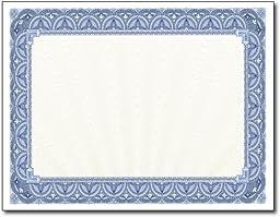 65lb Blue Border Certificates - 250 Certificates