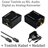 "Audio Konverter Wandler Digital (Toslink und Koaxial) zu Analog (Cinch) - Digital zu Analog Audiowandler mit Netzteil und Toslinkkabelvon ""Deluxecable GmbH"""