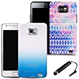 Blue raindrop and retro case cover for samsung galaxy s2 i9100 (2 case set) and black stylus
