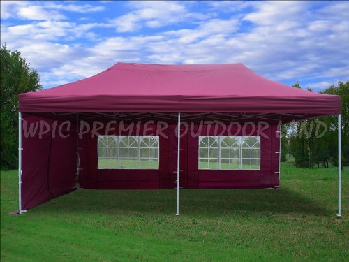 10'x20' Pop up 6 Walls Canopy Party Tent Gazebo Ez Maroon - F Model Upgraded Frame By DELTA Canopies