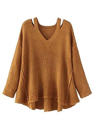 Choies Women Brown Off Shoulder V-neck Baggy Oversized Asymmetric Knit Sweater Onesize