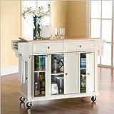 Crosley Furniture Natural Wood Top Kitchen Cart/Island, White