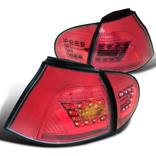Vw Gti Golf Red Chrome Clear 3D Light Bar Led Rear Brake Tail Lamp Pair