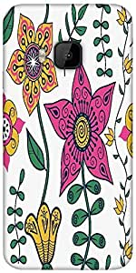 Snoogg Colorful Floral Seamless Pattern In Cartoon Style Seamless Pattern Designer Protective Back Case Cover For HTC M9