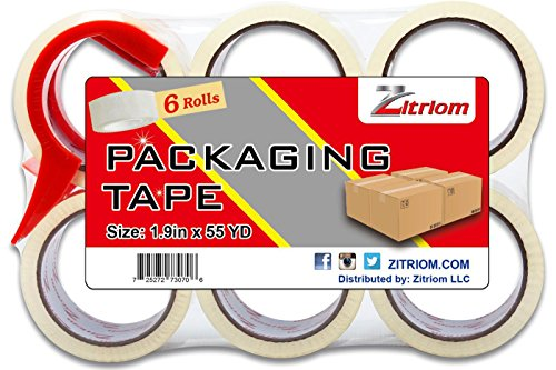 Packing Tape with Dispenser Included for Moving Ultra Adhesive Packages Professional Sealing – This Clear Packaging Tapes Fits Any Professional or Industrial Dispenser Gun and Perfect for Mailing Storage Shipping High Quality Materials At Best Price (Set of 6)