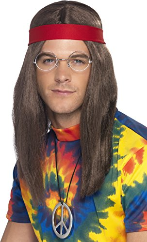 Low Cost Hippy Costume Kit.  This excellent value kit includes a long brown wig, round specs, silver peace medallion and soft, red headband.