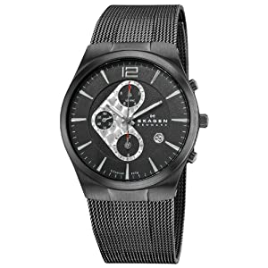 Skagen Designs UK 906XLTBB - Reloj cronógrafo de cuarzo para hombre con correa de acero inoxidable, color negro
