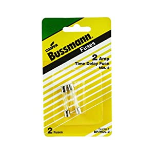 Bussmann BP/MDL-2 2 Amp Time Delay Glass Tube Fuse 250Vac, UL Listed Carded, 2-Pack