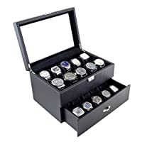 Carbon Fiber Pattern Glass Top Watch Case Display Storage Box Chest Holds 20 Watches With High Clearance for Larger Watches by Caddy Bay Collection