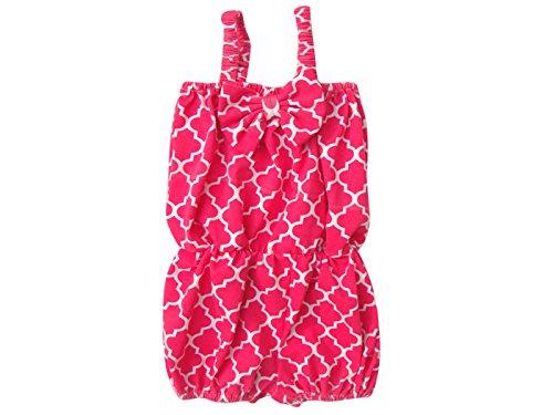 [Unique Baby Girls Quatrefoil Romper 6-12 Months Hot Pink] (Vintage Paisley Print Costumes)