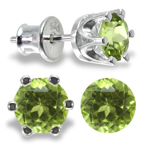 Pair of Natural Peridot Stud Earrings in Genuine 925 Sterling Silver (AG-925), 1.3 CARAT - 5mm diameter - Round Brilliant Cut Authentic Peridot (green) with Comfortable Silver Plug. 15mm length, weight 1.66g. Beautiful silver stud earrings jewellery for v