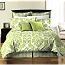 Chezmoi Collection 8 Piece Soft Microfiber Reversible White Green Leafstripe Duvet Cover With Sheet Set Queen