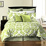 Chezmoi Collection 8-Piece Soft Microfiber Reversible White Green Leaf/Stripe Duvet Cover with Sheet Set, Queen