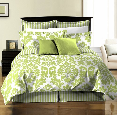 Chezmoi Collection 8-Piece Soft Microfiber Reversible White Green Leaf/Stripe Bed In A Bag Comforter With Sheet Set, Queen front-5967