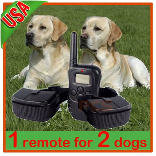 New Lcd 100Lv Level Shock&Vibra Remote Pet Dog Training Collar For 2 Dogs
