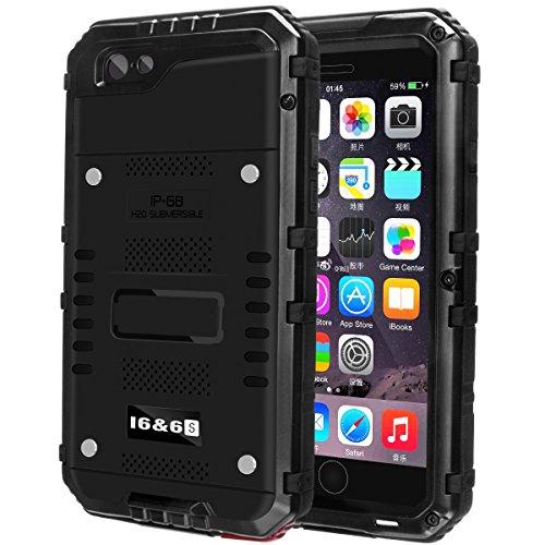 防水ケース Kirlor 携帯電話ケース iPhone 7/7 plus対応 IP68保護等級 防水防滴/防塵/防雪/耐衝撃 ストラップ付き 全密封アイフォンカバー 指紋認識可(iphone7適用/黒)