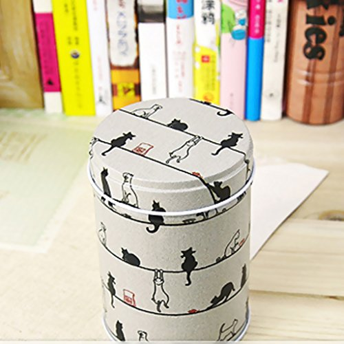 Cylinder Double Cover Tea Canister Container Food Caddy Storage Jars Tin Box - Light Grey, 9x6.5cm 1