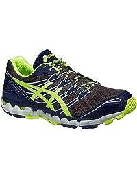 Asics GEL-FujiSensor 3 Trail Running Shoes - Men's - Dark Grey Flash Yellow Indigo Blue - M: US 11.5 / EU 46 / 29 cm