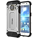 Cubix Defender Dual Layer Shockproof Bumper Back Case Cover For Samsung Galaxy S7 (Silver)
