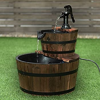 Giantex 2 Tier Barrel Waterfall Fountain Rustic Wood Barrel Water Fountain w/Pump Outdoor Garden