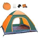 (ディオスン)Diosn ワンタッチテント ポップアップキャンプテント フルクローズ 3-4人用 サンシェード UVカット アウトドア ビーチ ピクニック 登山 遠足 2m幅 (オレンジ+グリーン)