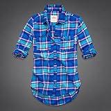 Hollister Co. ホリスター レディース 長袖 フランネル チェックシャツ ネルシャツ [ブルー/ターコイズ] 並行輸入品