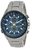 "Citizen Mens AT8020-54L ""Blue Angels"" Stainless Steel Eco-Drive Dress Watch"