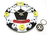 tkspo サッカーボール型 バスケットボール型 壁掛け時計 直径17cm オリジナルキーホルダーセット (サッカーボール型 17cm)
