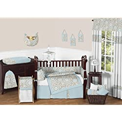 Sweet Jojo Designs Blue and Taupe Hayden Gender Neutral Baby Bedding 9pc Girl or Boy Crib Set