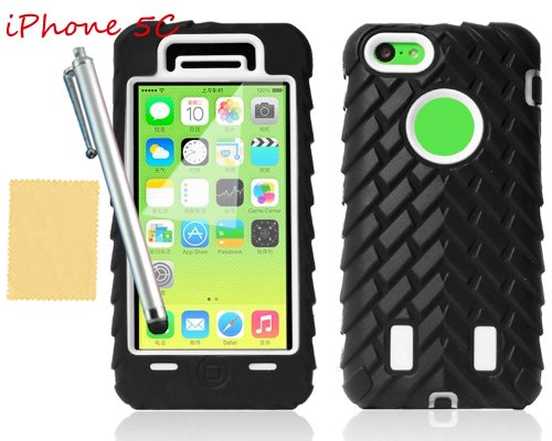 Tradekmk(Tm) Dual Layer 3-Piece Wheel Grain Hard Soft Armor Case Cover For Apple Iphone 5C(White), With Screen Protector+Stylus+Cleaning Cloth