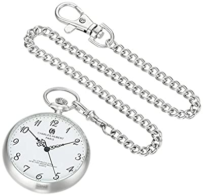 Charles-Hubert Pocket Watch 3534 Stainless Steel Open Face