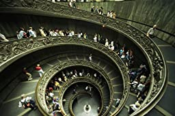 Wallmonkeys WM100859 Tourists Descend the Double Spiral Staircase in the Vatican Museums Peel and Stick Wall Decals (24 in W x 16 in H)