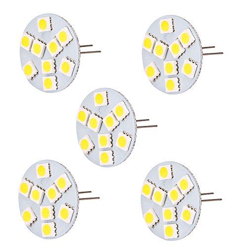 HERO-LED, T3, verlängerter Rücken-Basis Bi-Pin JC G4 LED Halogen Xenon Ersatz-Glühlampe, AC/DC 12 V oder 24 V DC, Schreibtischlampen, Pendelleuchte, Puck-Lampen, im Rahmen counter-Lichter, Unterschrank-Leuchten, Marine, Boote, Yachten, Accent, Display, der Landschaft und allgemeine Beleuchtung, 9 SMD LED, 15-20W, Ersatzteil, 5 Stück, Warmweiß 3000k, G4, 1.80 wattsW 12.00 voltsV