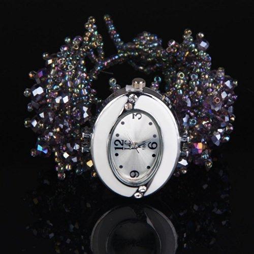 Vktech Rhinestone Decoration Quartz Coralline Beads Elastic Band Women Watch (Light Purple)