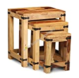 Jali Furniture Wooden Nest of 3 Coffee Tables - Living Room Furniture
