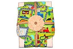 BABY BURP CLOTH AND BIB SET - CITY/FARM THEME - WITH FIRETRUCKS, POLICE CARS, TRAINS