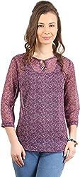 Amadeo Women's 3/4 th Sleeve Top (KRISHA14, Purple, Small)