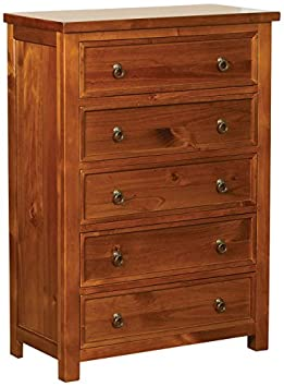 Sweet Dreams Curlew 5-Drawer Chest, 44 x 88 x 123 cm, Wild Cherry