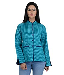 Aarohee Women's Block Printed Cotton Quilted Jacket (AAC39_Turquoise blue_X Large)