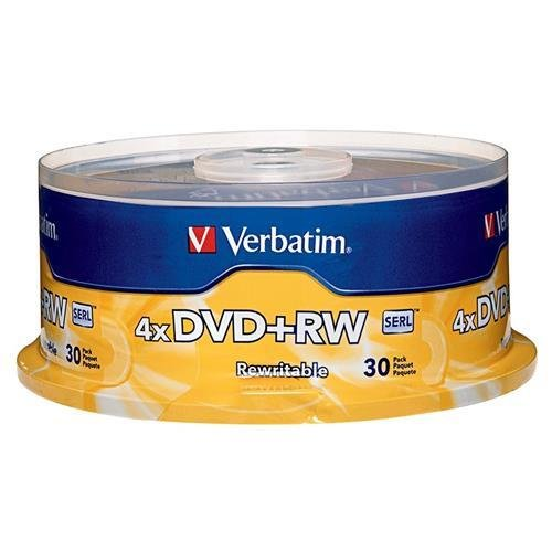 Verbatim 4.7 GB 1x- 4x ReWritable Disc DVD plus RW, 30 Disc Spindle 94834