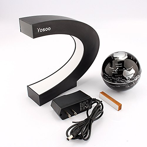 Yosoo Funny C Shape Magnetic Levitation Floating Globe World Map LED Light